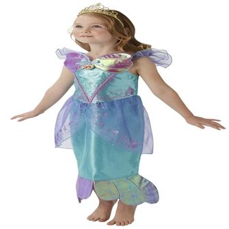 Disney Prinsesse Ariel Deluxe Kjole Udklædningstøj (3-9 år)(Str. 116/M)
