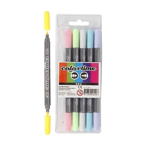 Image of Colortime - Dobbelt Tuscher - Pastel Farver, 6stk