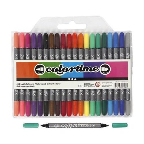 Image of Colortime - Dobbelt Tuscher - Basis Farver, 20stk
