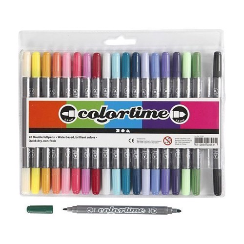 Image of Colortime - Dobbelt Tuscher - Ekstra Farver, 20stk (5712854205511)
