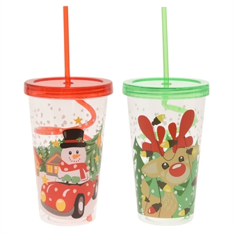 Image of Drinking Cup with Curled Straw - Christmas (8719202220414)
