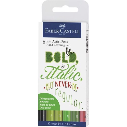 Image of Faber-Castell - India ink Pitt Artist Pen Hand Lettering set, green tones
