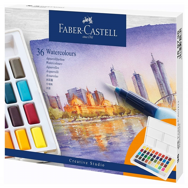 fabercastell  watercolours in pans 36ct set 169736