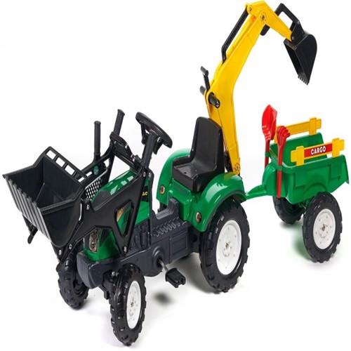 Image of Falk Ranch Traktor Med Frontskovl Trailer Gravekran