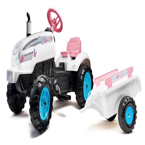 Image of Farmer Sommerfugl Traktor Med Trailer Og Motorhjelm