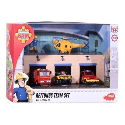 Image of Brandmand Sam rednings team med garage
