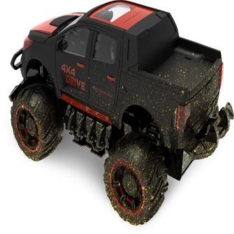 Image of Fjernstyret Mud Off-Road Truck 1:18 Sort/Rød, 2.4G (5712548146083)