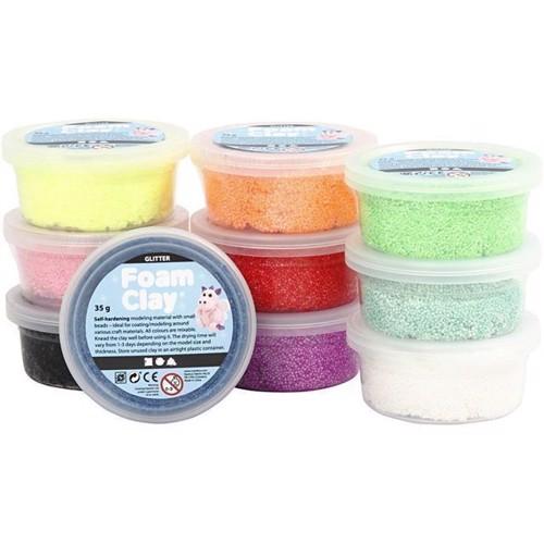 Image of   Modellervoks, Foam Clay, glitter 10 farver
