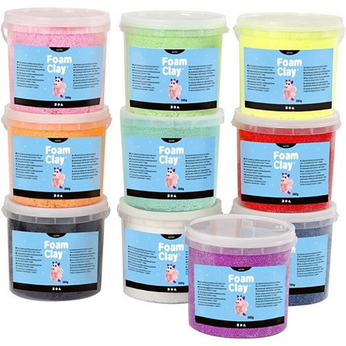 Image of Foam clay farver med glitter 10x560g