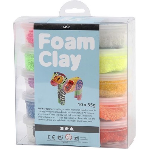 Image of Modellervoks ´Foam Clay basis farver 10x35g
