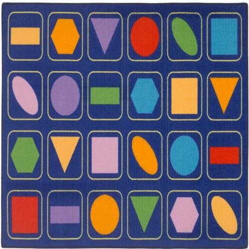 Image of Geometriske Figurer Gulvtæppe Til Børn 133X95