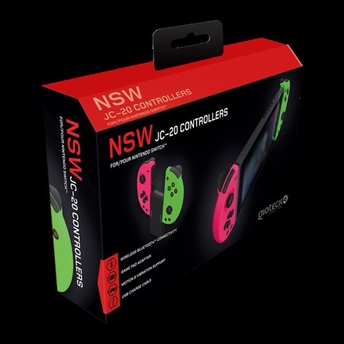 Image of Gioteck Nintendo Switch JC-20 Controllers (Pink/Green) - Nintendo Switch (0812313010689)