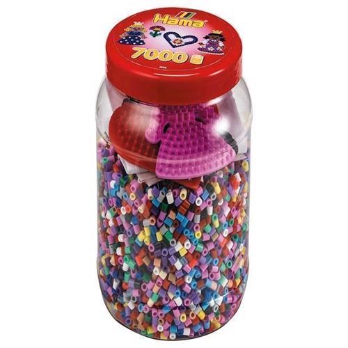Image of Hama perler, perlesæt med perler pg plader i bøtte (0028178020200)