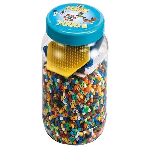 Image of Hama perler, perlesæt med perler pg plader i bøtte (0028178020217)