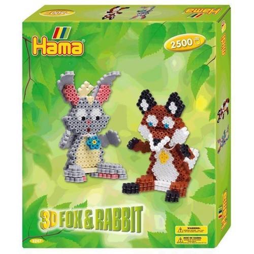 Image of Hama 3D perlesæt, ræv og kanin 2500 stk