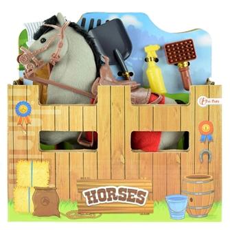 Image of Heste stald med heste og tilbehør