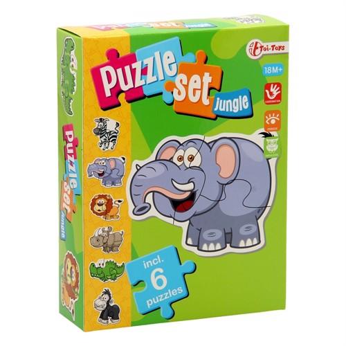Image of Puzzlespil, jungle, sæt med 6 spil (3800966023245)