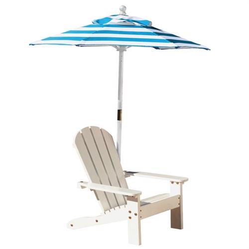 Image of Kidkraft Træ Havestol Med Parasol Turkis Og Hvide Striber