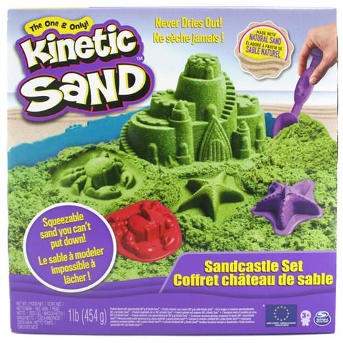 Image of Kinetic Sand - Grøn sand slot sæt 450 gr (0778988179468)