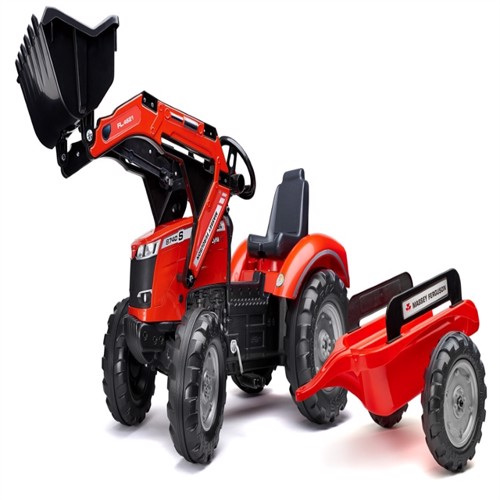 Image of Massey Fergusons 8740 Pedaltraktor Til Børn Med Frontskovl Og Trailer