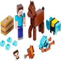 Minecraft - Comic  2-Pack Figures -  Steve + Diamond Armored Horse (GLC78)