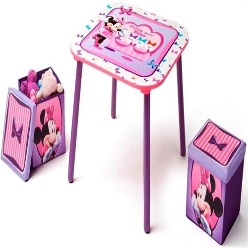Image of Minnie mouse bord og 2 Stk skammel med opbevaring
