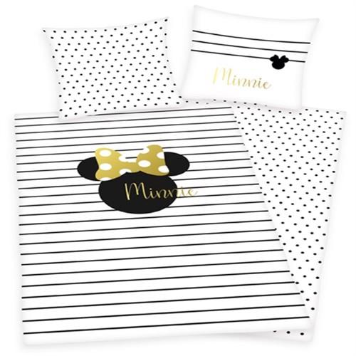 Image of Minnie Mouse Sengetøj Med Guldprint 100 Procent Bomuld