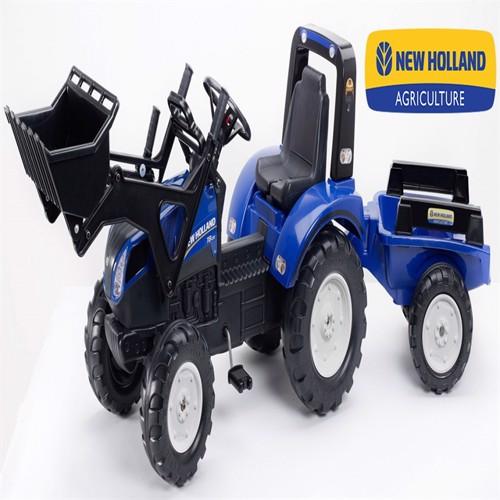 Image of Newholland T8 Pedal Traktor Til Børn Med Frontskovl Trailer