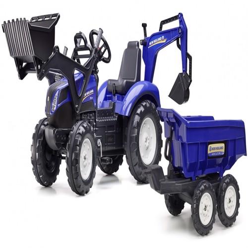 Image of Newholland T8 Traktor Til Børn Med Frontskovl Gravekran Maxi Anhænger