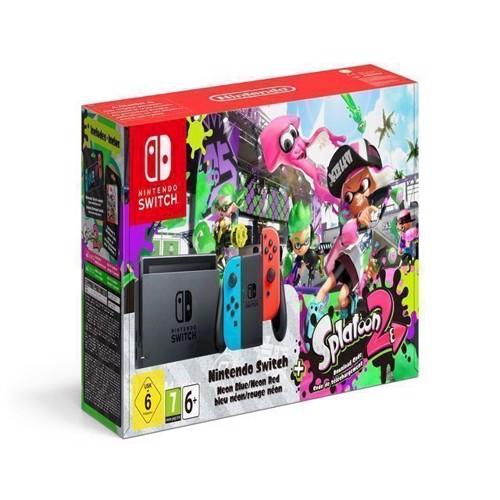 Image of   Nintendo Switch Console with Neon Red Neon Blue JoyCon Splatoon 2
