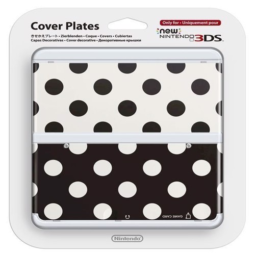Image of   Official Cover Plate for New Nintendo 3DS Black and White Dots - Nintendo 3DS
