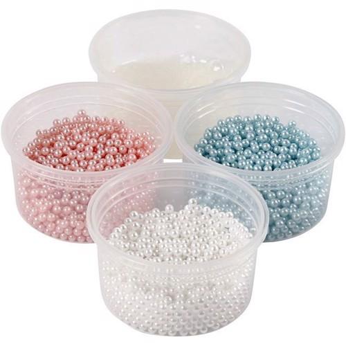 Image of Modellervoks, Pearl Clay, blå, hvid, lyserød