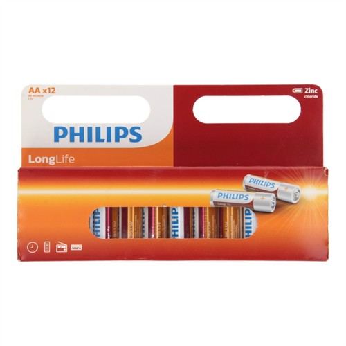 Image of Philips, longlife batterier zinc AA/R6, 12 stks