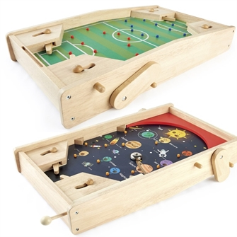 Image of Pintoy 2-i-1 spil Fodbold Flipper og Pinball spil til børn i træ (6972727770020)