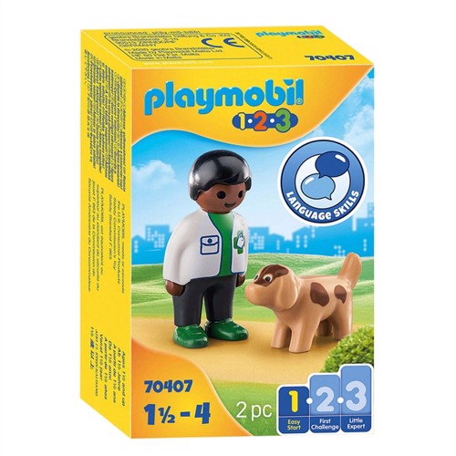 Image of Playmobil 70407 Vet with Dog (4008789704078)