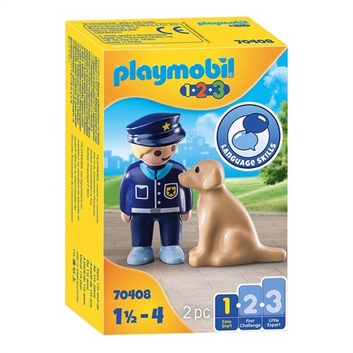 Image of Playmobil 70408 Police Officer with Dog (4008789704085)
