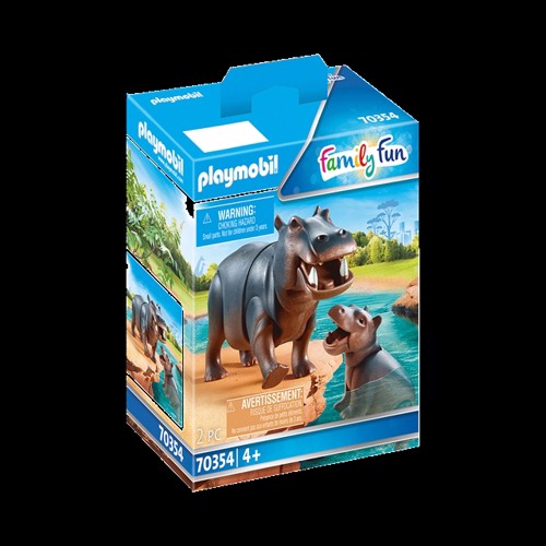 Image of Playmobil - Hippo with Calf (70354) (4008789703545)