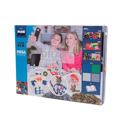 Image of Plus Plus basic, 1200, lær at bygge, mega kasse