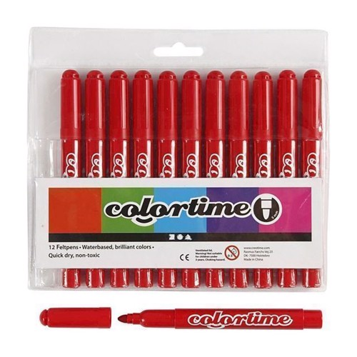 Image of Colortime - Jumbo Tuscher - Rød, 12stk