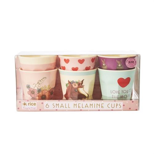 Image of Ris melamin kopper 6 stk small med dyr, lyserød