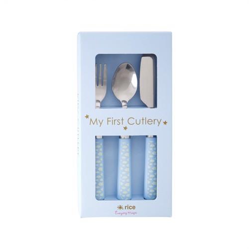Image of Rice rustfri stål bestik til børn med plastik håndtag, blå