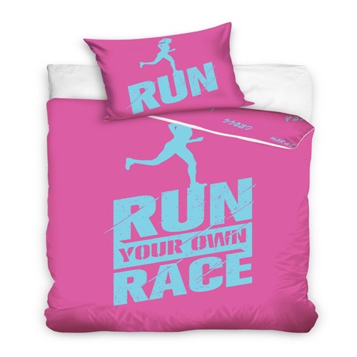 Image of Run Your Own Race Pink Sengetøj 140X200 100 Procent Bomuld