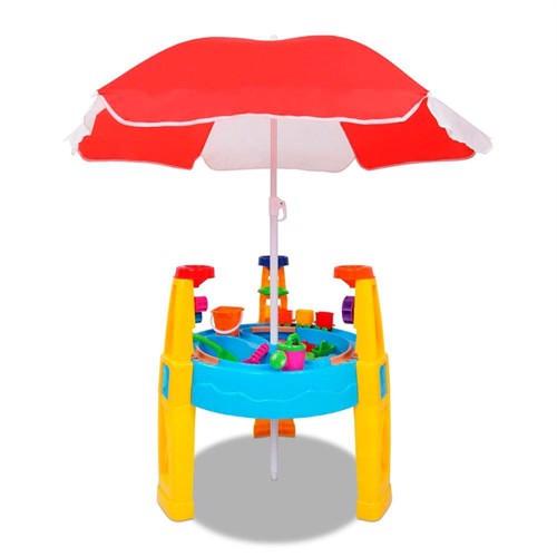 Image of Sand Og Vand Legested Med Parasol