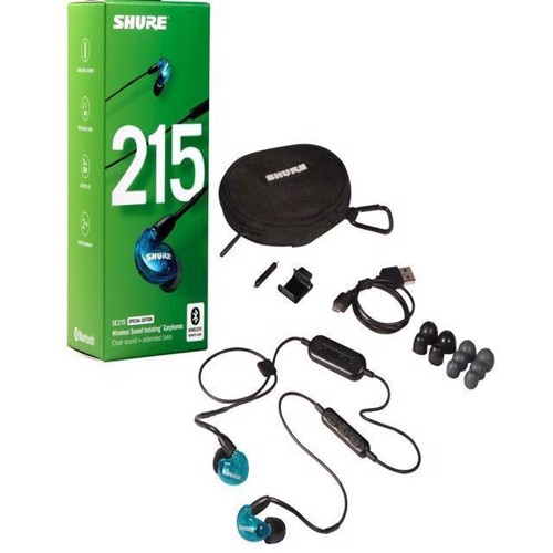Image of Shure SE215BT1 Special Edition Wireless Sound Isolating Earphones Blue (0042406548977)