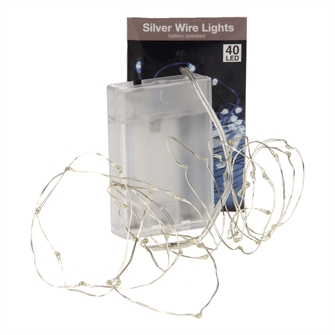 Image of Lyskæde i sølv med 40 led lys (8718158684325)