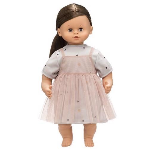Image of   Dukke, Skrållan talende dukke med brunt hår 45 cm