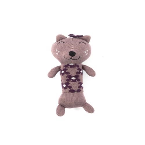 Image of Smallstuff, Maracas Crochet Rangle, kat, mørk rose/sølv