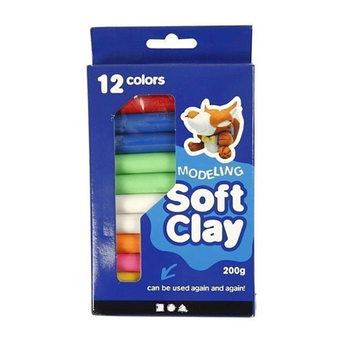Image of Soft Clay Modellervoks Sæt - Varieret Farver, 200g (5707167875698)