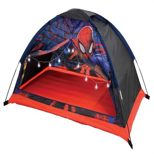Image of Spiderman Drømme Børnetelt med luftmadras og lys