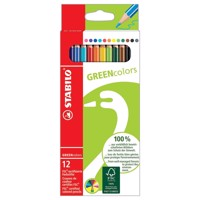 Stabilo, green colors crayons, 12 dele